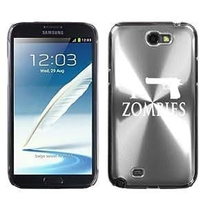 Samsung Galaxy Note 2 II N7100 Silver 2F1039 Aluminum Plated Hard Case I Gun Zombies by icecream design