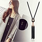 Suyi Exquisite Long Sweater Necklace Crystal Sweater Chain with Tassel Pendant