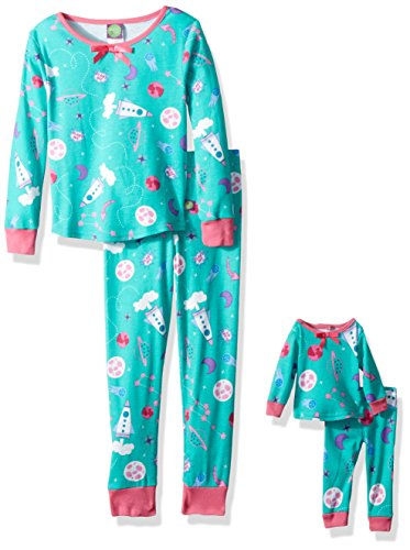 Dollie & Me Little Girls' Snugfit Sleep Set, Mint/Mulitcolor, 5 -