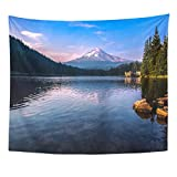 Emvency Tapestry Blue Trillium Mountain Reflections from The Lake America Beautiful Home Decor Wall Hanging for Living Room Bedroom Dorm 50x60 Inches