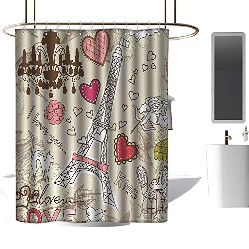 Boston Glass Chandelier - coolteey Shower Curtains rods for Bathroom Paris,Doodles Illustration of Eiffel Tower Hearts Chandelier Flower Love Valentines Vintage,Beige Pink,W48 x L84,Shower Curtain for Shower stall