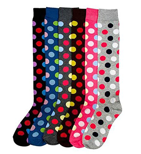 Dots Knee High - MAMIA 6 Pack Women Multi Pattern Playful and Colorful Knee High Socks-DOT
