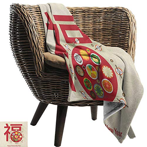 AndyTours Flannel Blanket,Chinese New Year,Festive Lunar Dinner Table Full of Traditional Food for The Family Reunion, Multicolor,Extra Cozy, Machine Washable, Comfortable Home Decor 30