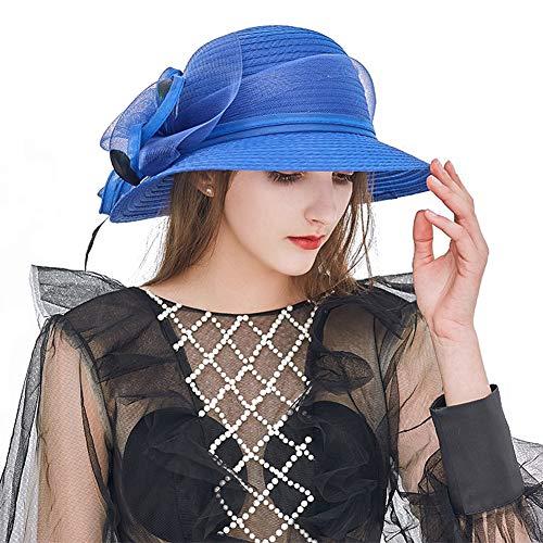 baacccdb2198a Eanny Womens Kentucky Derby Church Sun Hat Wide Brim Wedding Tea Party  Beach Hat Beige