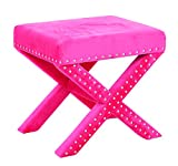 Office Star Katie Upholstered X-Style Bench with Nailhead Accents, Pink Micro Velvet