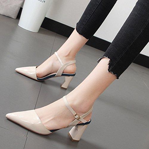 Palabra De Señaló KPHY de 8 Tacon Zapatos Cm Alto Tacon Vacío Zapatos Baotou mujerSandalias Moda Post Hebilla Beige De Joker Hembra 7rx7XTpw