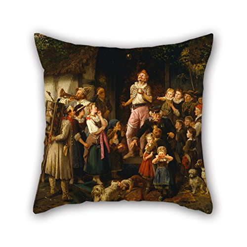 16 X 16 Inches / 40 By 40 Cm Oil Painting Fritz Beinke - The Juggler- A Village Fair Pillow Cases ,both Sides Ornament And Gift To Bar,kids Room,pub,girls,christmas,dinning (Kilim Village)