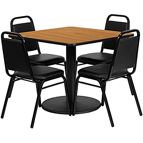 Flash Furniture 36 Square Natural Laminate Table Set With 4 Black Trapezoidal Back Banquet Chairs