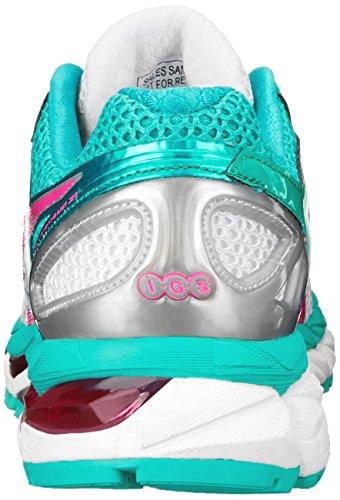 Zapato De Running Asics Gel-kayano 21 Para Mujer, Blanco / Rosa Fuerte / Esmeralda