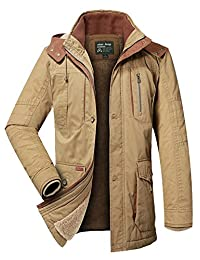 Middle-aged Mens Loose Fit Warm and Thicken Hooded Wool Blend Twill Jacket Coat