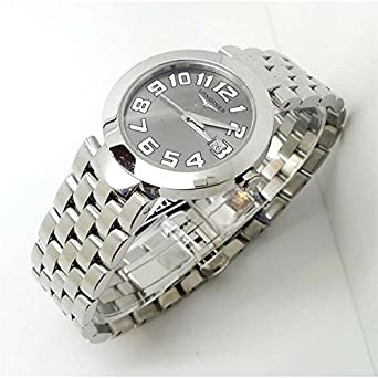 Uhr Longines EFC L55054736 Quarz (Batterie) Stahl Quandrante grau Armband Stahl
