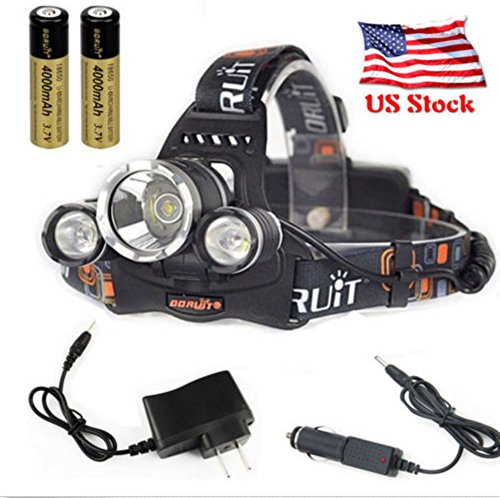 Cree 12000 Lumen Headlamp Xm-L 3 X T6 Led Adjustable Headlight Cree Petzl Black 18650 Light Charger Battery Very Convenient Largest Extent Brand New