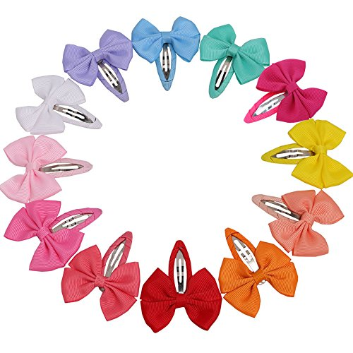 QingHan 12 Colors 2.2'' Baby Girl Boutique Hair Bows Barrettes Clips For Kids Toddlers Girls