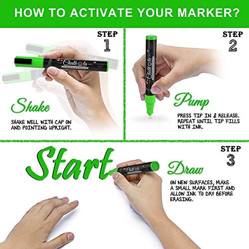 Metallic Chalk Markers - Pack of 10 Liquid Chalk Pens - for Chalkboard, Blackboard, Cafe Menu, Business, Window - Wet Wipe Erasable - 6mm Reversible Bullet & Chisel Tip by Chalkola (Image #3)