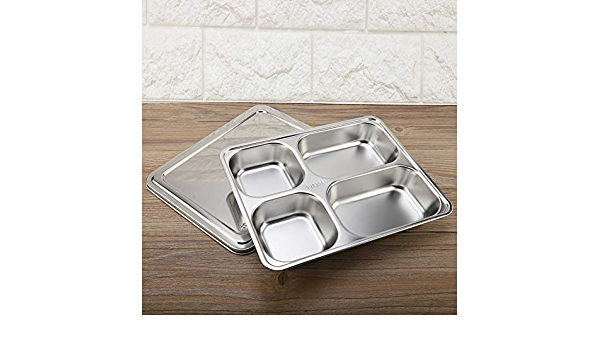 4 Grids Durable for Canteen Home Four Grid with Cover Reusable Serving Plate Stainless Steel Lunch Plate