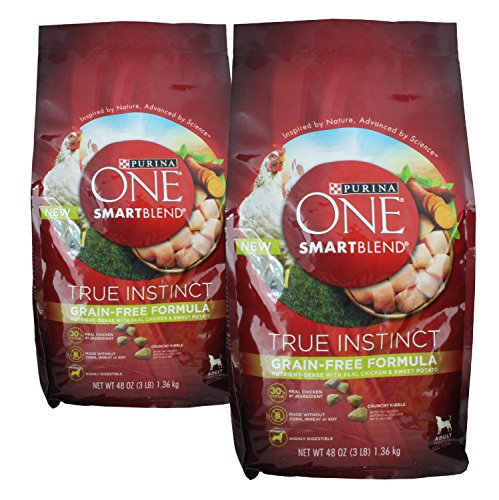 (2 Bags) Purina ONE SmartBlend Dry Dog Food, True Instinct, Grain Fee Formula, Chicken & Sweet Potato, 3-Pounds per Bag