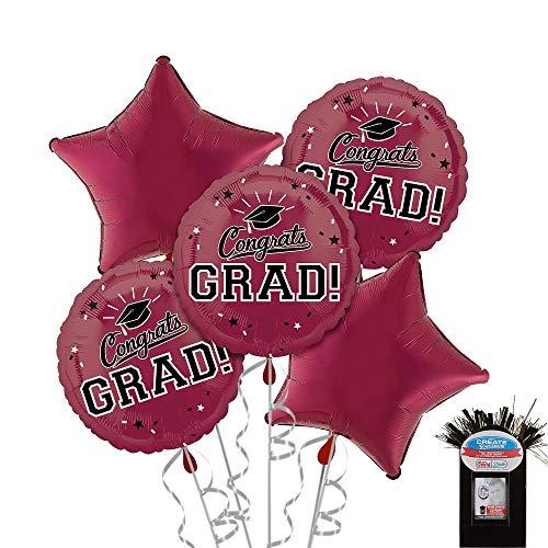 Party City Berry Graduation Balloon Bouquet, Includes 5