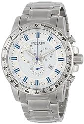 Akribos XXIV Men's AK649SS Grandiose Swiss Chronograph Silver-tone Stainless Steel Bracelet Watch