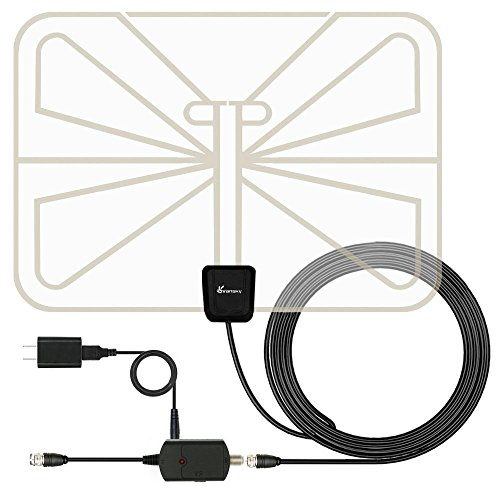 TV Antenna, Vansky Indoor HDTV Antenna 50 Mile Long Range with High Gain Detachable Amplifier Signal Booster - Longer 16.5ft Coaxial Cable, 0.4mm Super Thin Transparent