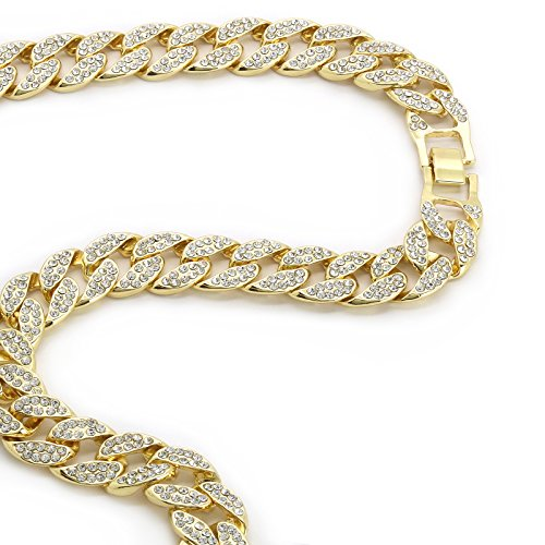 "L & L Nation Mens 14k Gold Plated Over Brass Fully CZ 16mm - 14"" to 30"" Miami Cuban Chain Hip Hop Choker Necklace (16"" Inches)"