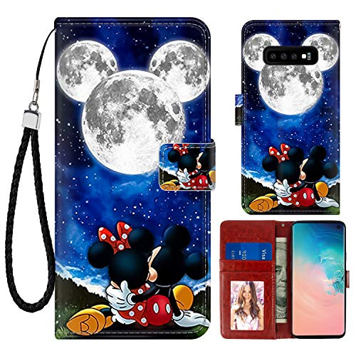 DISNEY COLLECTION Wallet Case for Samsung Galaxy S10+ Mickey and Minnie are Dating Pattern Design Magnetic Closure [Stand Feature] Folio Flip Cover with Card Holder and Wrist Strap Protective Cover