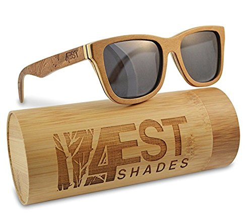 Wood Sunglasses made from Maple/Cherry-100% polarized lenses in a wayfarer that - Shades Eyewear