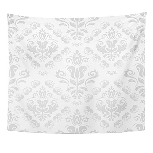 VaryHome Tapestry Gray Vintage Oriental Classic Light Silver Pattern Abstract with Orient Damask Home Decor Wall Hanging for Living Room Bedroom Dorm 50x60 (Damask Tapestry)