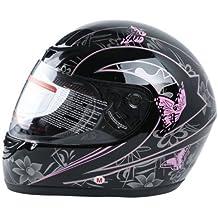 XFMT DOT Adult Pink Black Butterfly Motorcycle Street Full Face Helmet L