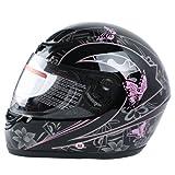 XFMT DOT Adult Pink Black Butterfly Motorcycle Street Full Face Helmet S