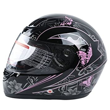 XFMT DOT Adult Pink Black Butterfly Motorcycle Street Full Face Helmet S