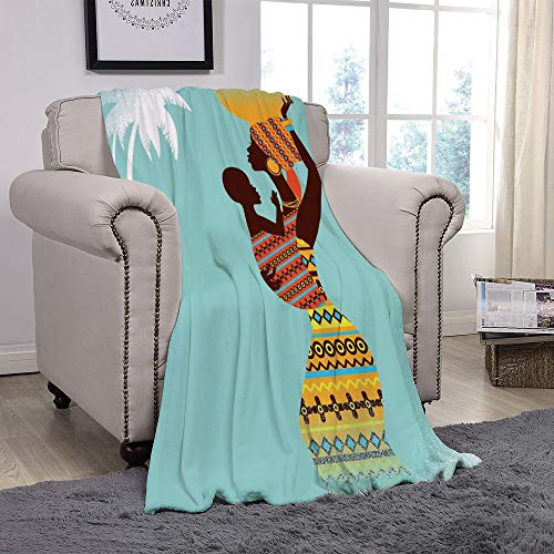 Rug Boop Betty Baby - YOLIYANA Light Weight Fleece Throw Blanket/Afro Decor,African Mother with Her Baby in Ethnic Clothes Retro Style Fashion Image,Turquoise Merigold/for Couch Bed Sofa for Adults Teen Girls Boys