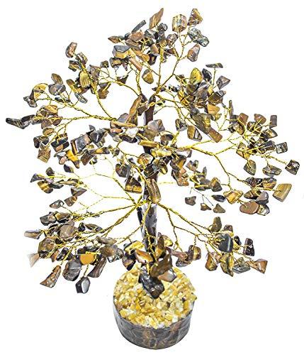 YATHABI Tiger Eye Feng Shui Gemstone Healing Crystal Money Tree Bonsai Fortune for Good Luck, Wealth Prosperity Spiritual Gift & Home Decor Golden Wire (Size:- 10-12 Inch)