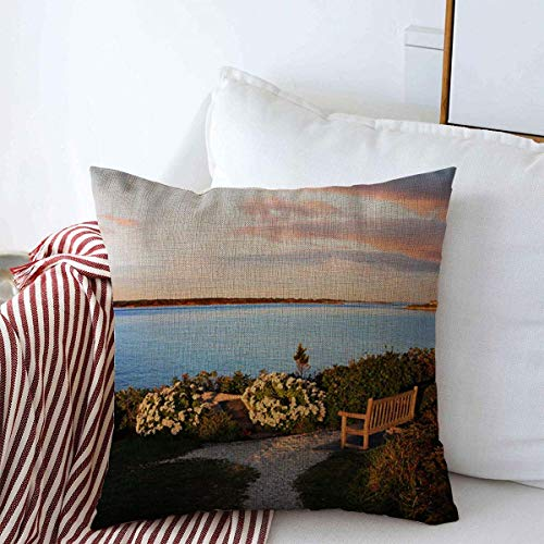 Staroutah Throw Pillows Cover 18 x 18 Inches Blue Scenic Looking Towards Marthas Vineyard Nobska Point Nature Massachusetts Parks Atlantic Coast Cushion Case Cotton Linen for Fall Home ()