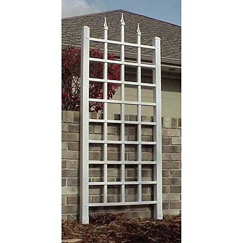 Decorative Vinyl Lattice Panel Garden Rose Climbing Vine Trellis, White - Climbing Vine Panels