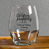 Love Laughter and Happily Ever After 9 Ounce Wine Glass, Wedding Toasting Glasses, Case of 144, Custom Name and Date Printed in Black, Best Friend Engagement Bride to Be For Sale