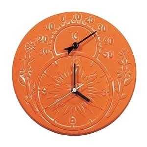 Adorn Sun Terracotta Combination Clock Amp Thermometer