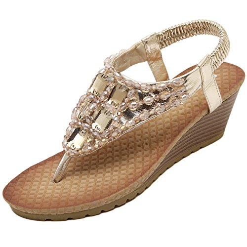 0d7bff57d8eaa Navoku Womens Leather Jeweled Sandles Thong Wedge Sandals Gold 41 9 D(M) US