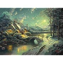 Printed Poster Wall Art Home Decor HD Prints Oil Paintings on Canvas Christmas Moon Thomas Kinkade Landscape Beautiful Art