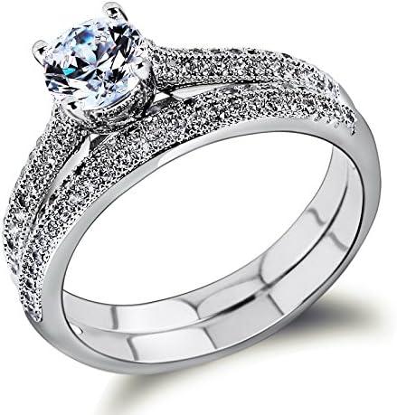 Amazon Com K Design Bridal Wedding Rings Set 18k Gold Ring White