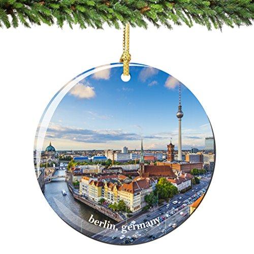 Germany Christmas Ornament - Berlin Germany Christmas Ornament Porcelain Skyline, 2.75 Inch Double Sided Berlin Ornament