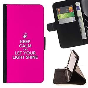 BullDog Case - FOR/Samsung Galaxy S6 / - / LET YOUR LIGHT SHINE /- Monedero de cuero de la PU Llevar cubierta de la caja con el ID Credit Card Slots Flip funda de cuer
