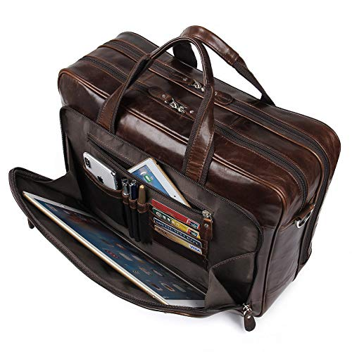 - Augus Leather Briefcases for Men, Waterproof Travel Messenger Duffle Bags 17 Inch Laptop Bag (cofee-1)