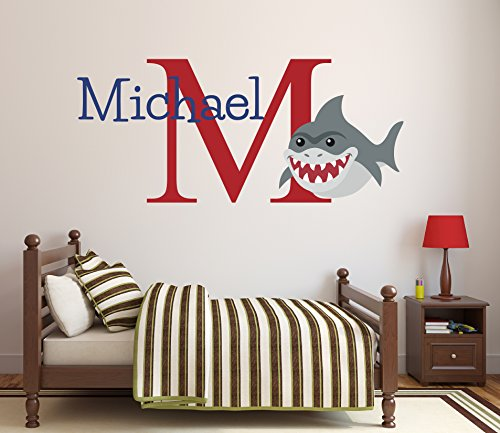 (Pinkie Penguin Custom Name Shark Wall Decal Baby Boy Nursery Decor Personalized Kids Gift Vinyl Art (26