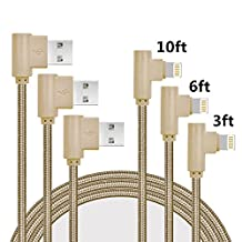 iPhone Charger Lightning Cable, MCUK 3Pack 3FT 6FT 10FT Charging Cord 90 Degree Nylon Braided Lightning to USB Cable for iPhone 7/7 plus/6 plus/6s plus/6/6s/5S/SE, iPod, iPad Mini/Pro (3Pack Gold)