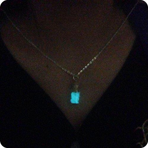 - Aqua Blue Glow Glow in the Dark Necklace,glow in the Dark Glass Dolphin Necklace ,Glowing Bottle Glass,glowing Jewelry Christmas Gift,birthday Gift