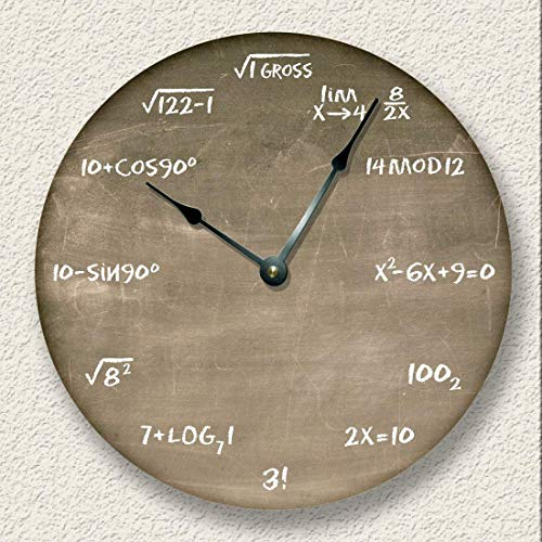 Fancy This Math Wall Clock Brown Chalkboard Image Teacher Student Gift