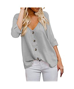 TUU Fashion Women's 3/4 Sleeve V Neck Button Down Shirts Casual Tops Blouses Gray