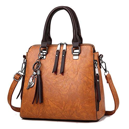RUIREN Multifunktions Metall Schnalle Soft Tasche Portable Schultertasche Frauen Messenger Bags Frauen Handtasche Schultertasche Gelb fEE2gHE0ey