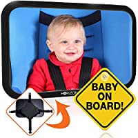 Premium Infant Carseat Mirror & Baby on Board Sign: View Backseat Without Ris...