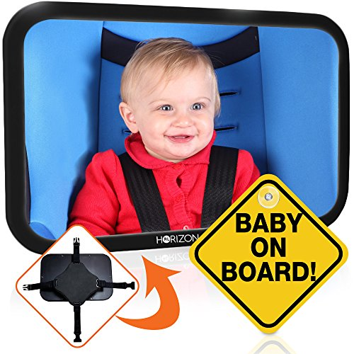 Premium Infant Carseat Mirror & Baby on Board Sign: View Backseat Without Risk! Headrest Mirrors for Parents in the Drivers Seat to See Their Kids in the Rear Seats. Car - Be Glasses Broken Fixed Can Frames